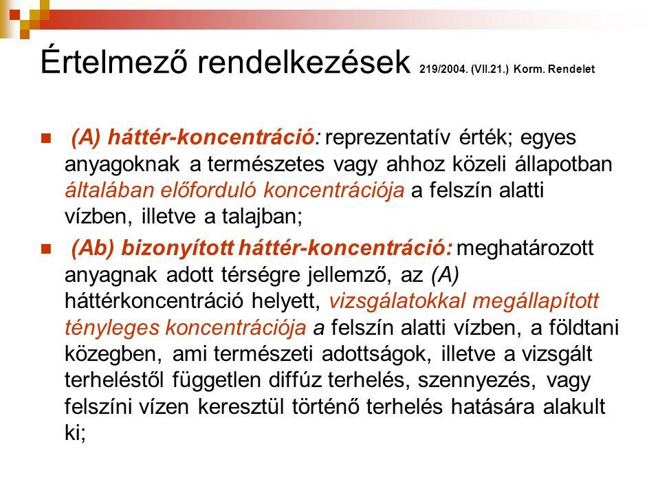 Értelmező rendelkezések 219/2004. (VII.21.) Korm. Rendelet