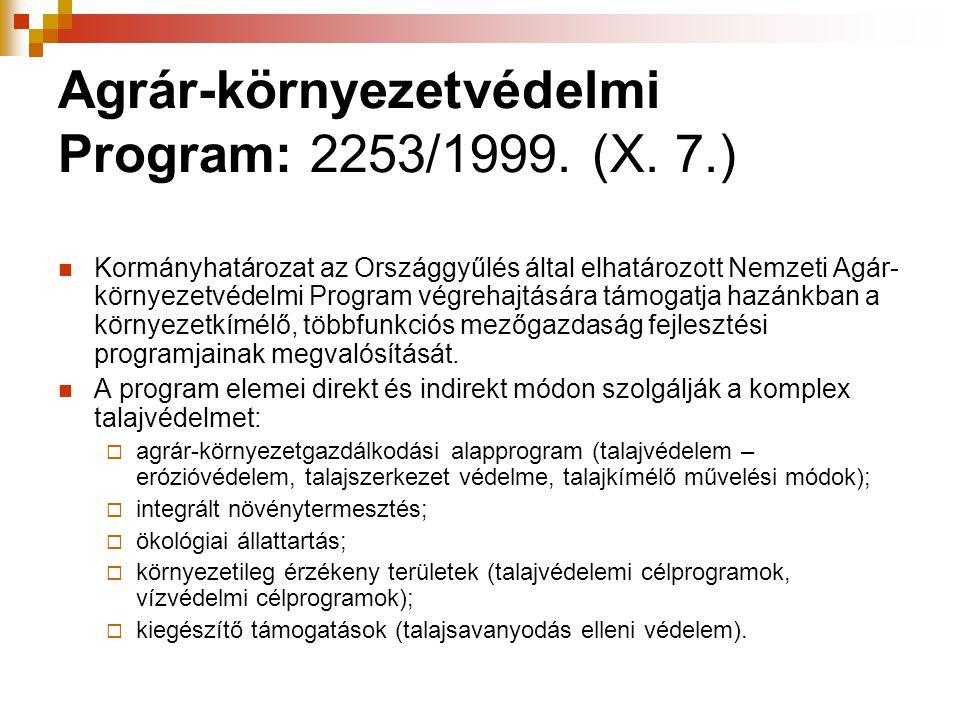 Agrár-környezetvédelmi Program: 2253/1999. (X. 7.)