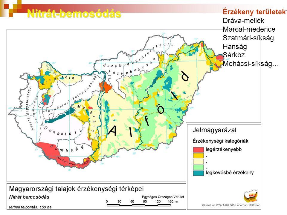 Nitrát-bemosódás Érzékeny területek: Dráva-mellék Marcal-medence