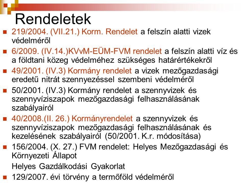 Rendeletek 219/2004. (VII.21.) Korm. Rendelet a felszín alatti vizek védelméről.