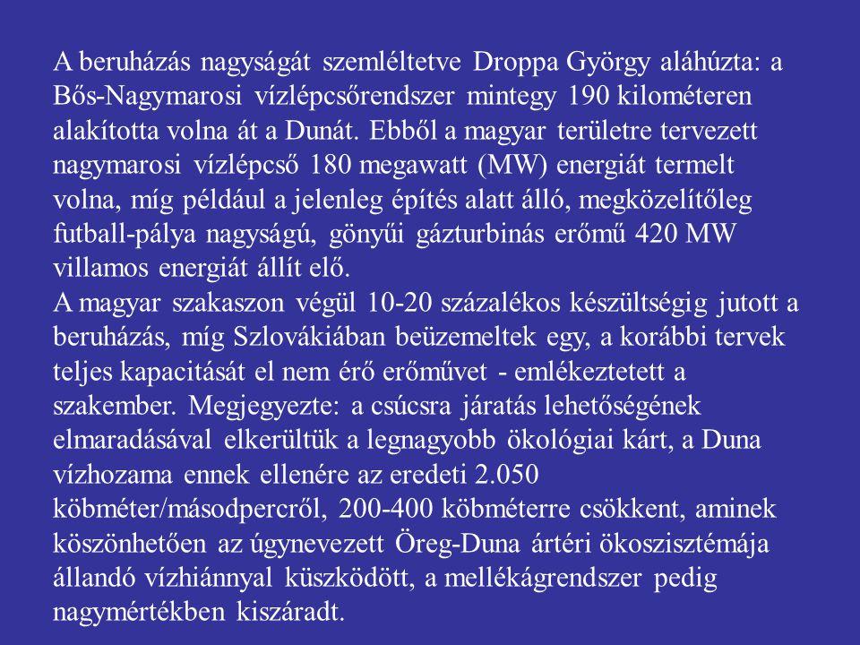 A beruházás nagyságát szemléltetve Droppa György aláhúzta: a Bős-Nagymarosi vízlépcsőrendszer mintegy 190 kilométeren alakította volna át a Dunát. Ebből a magyar területre tervezett nagymarosi vízlépcső 180 megawatt (MW) energiát termelt volna, míg például a jelenleg építés alatt álló, megközelítőleg futball-pálya nagyságú, gönyűi gázturbinás erőmű 420 MW villamos energiát állít elő.
