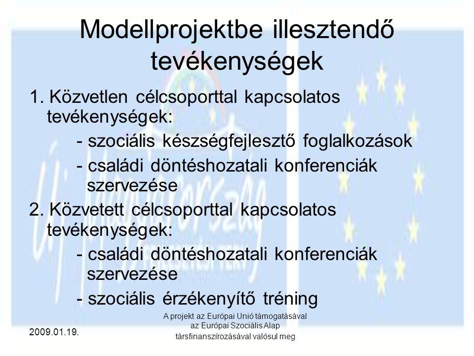Modellprojektbe illesztendő tevékenységek