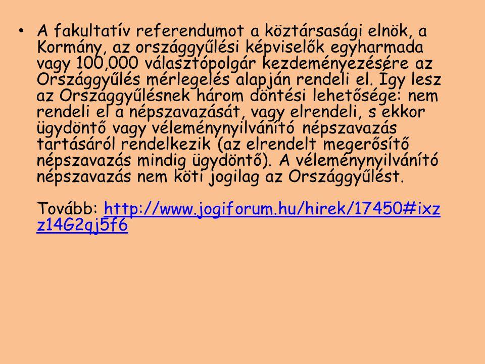 A fakultatív referendumot a köztársasági elnök, a Kormány, az országgyűlési képviselők egyharmada vagy 100,000 választópolgár kezdeményezésére az Országgyűlés mérlegelés alapján rendeli el.