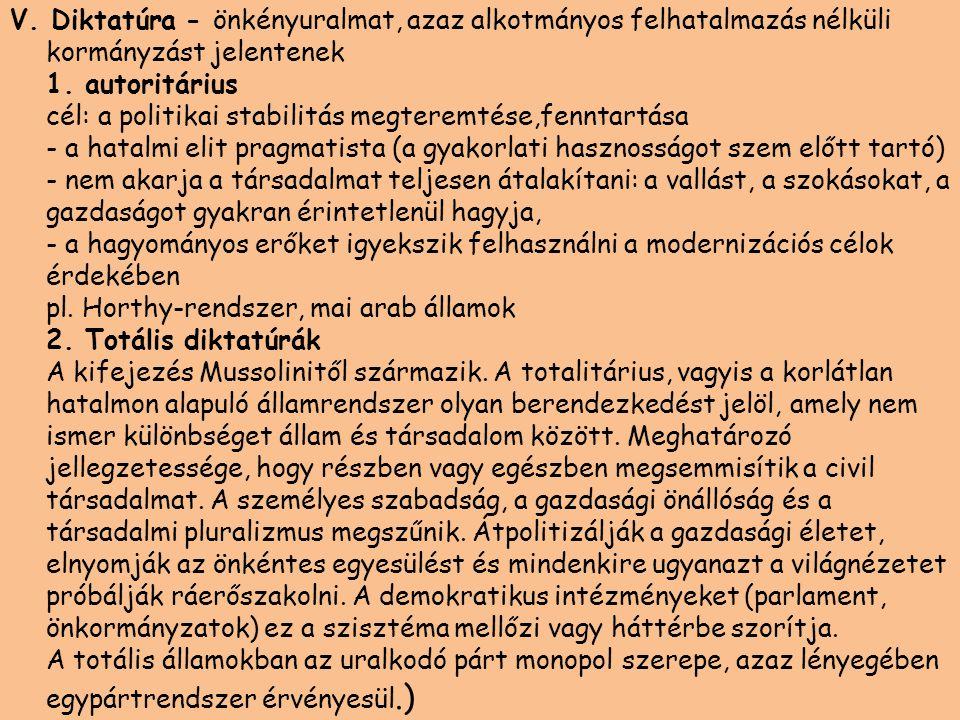 V. Diktatúra - önkényuralmat, azaz alkotmányos felhatalmazás nélküli kormányzást jelentenek 1.