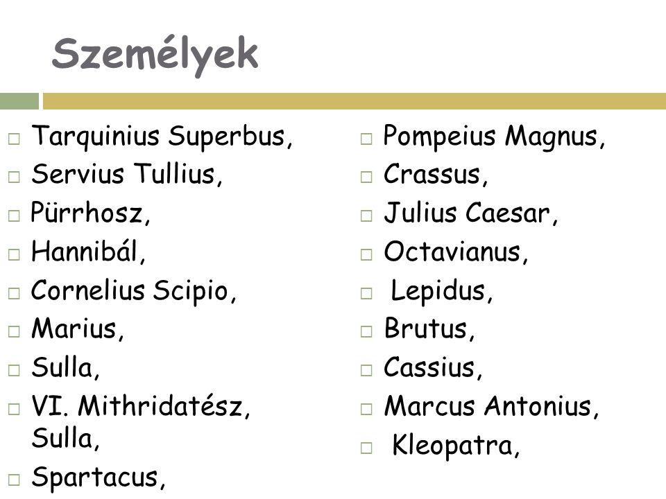 Személyek Tarquinius Superbus, Servius Tullius, Pürrhosz, Hannibál,