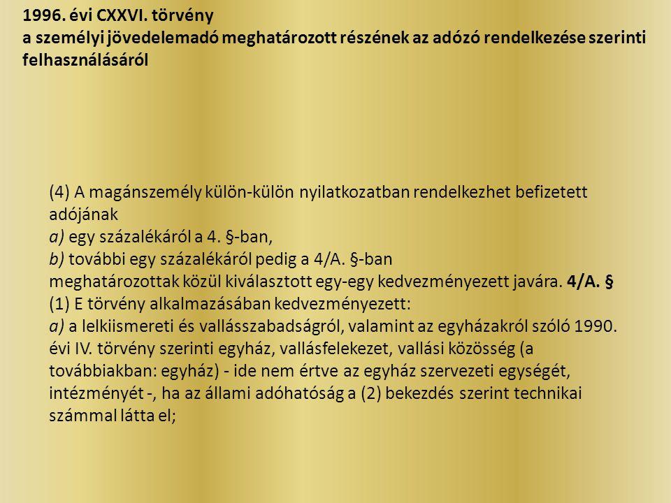 1996. évi CXXVI. törvény a személyi jövedelemadó meghatározott részének az adózó rendelkezése szerinti felhasználásáról.