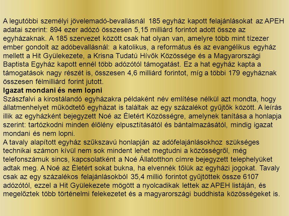 A legutóbbi személyi jövelemadó-bevallásnál 185 egyház kapott felajánlásokat az APEH adatai szerint: 894 ezer adózó összesen 5,15 milliárd forintot adott össze az egyházaknak. A 185 szervezet között csak hat olyan van, amelyre több mint tízezer ember gondolt az adóbevallásnál: a katolikus, a református és az evangélikus egyház mellett a Hit Gyülekezete, a Krisna Tudatú Hívők Közössége és a Magyarországi Baptista Egyház kapott ennél több adózótól támogatást. Ez a hat egyház kapta a támogatások nagy részét is, összesen 4,6 milliárd forintot, míg a többi 179 egyháznak összesen félmilliárd forint jutott.