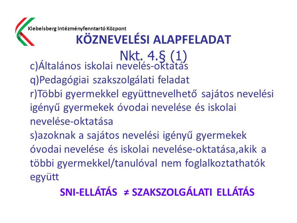 KÖZNEVELÉSI ALAPFELADAT Nkt. 4.§ (1)