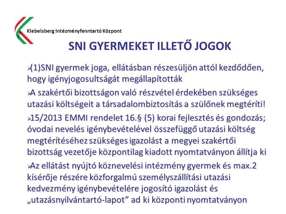 SNI GYERMEKET ILLETŐ JOGOK