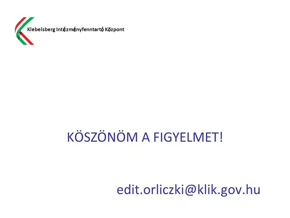 KÖSZÖNÖM A FIGYELMET! edit.orliczki@klik.gov.hu