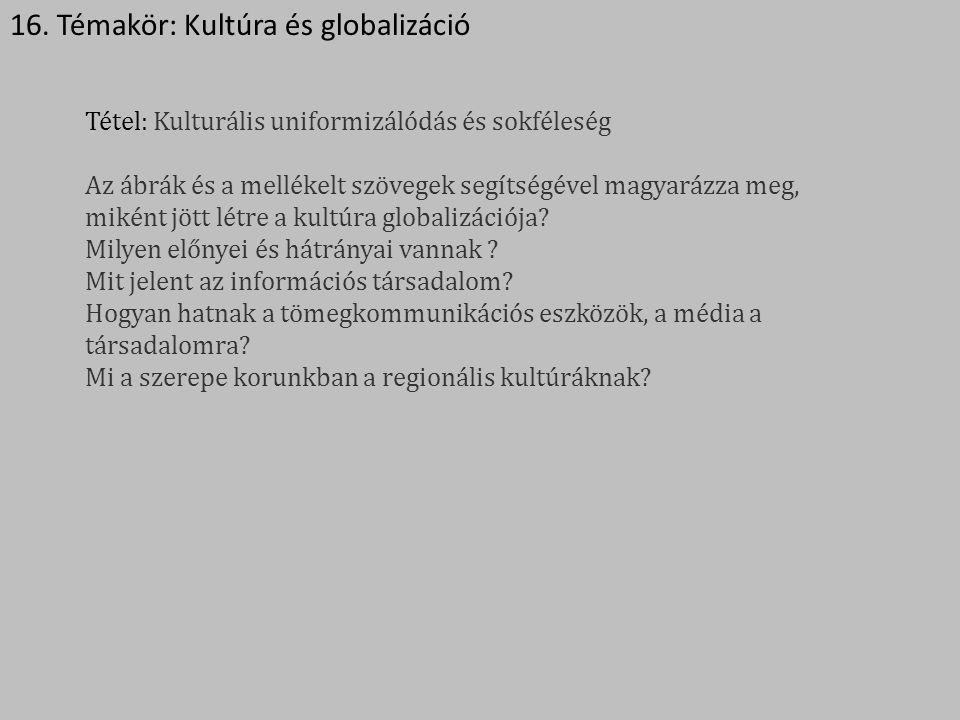16. Témakör: Kultúra és globalizáció