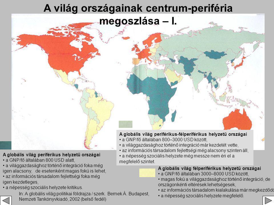 A világ országainak centrum-periféria megoszlása – I.