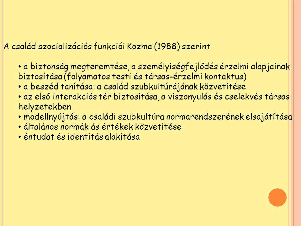 A család szocializációs funkciói Kozma (1988) szerint
