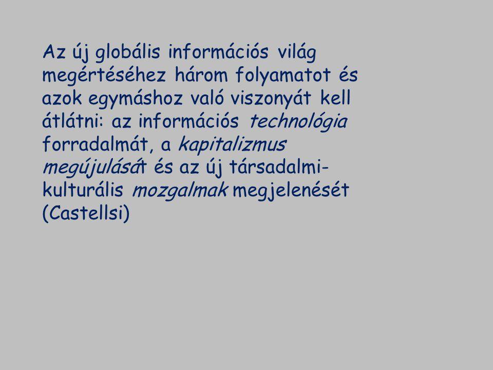 Az új globális információs világ megértéséhez három folyamatot és azok egymáshoz való viszonyát kell átlátni: az információs technológia forradalmát, a kapitalizmus megújulását és az új társadalmi-kulturális mozgalmak megjelenését (Castellsi)
