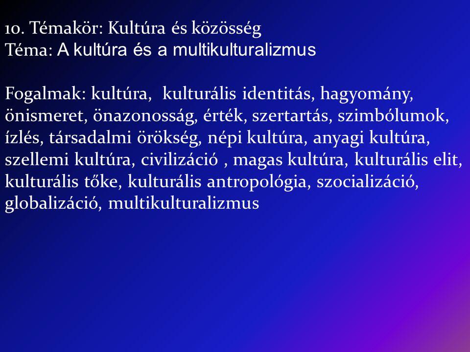 10. Témakör: Kultúra és közösség