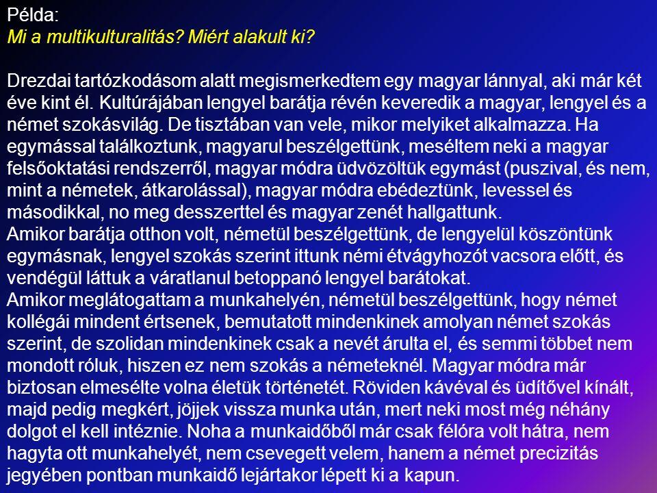 Példa: Mi a multikulturalitás Miért alakult ki