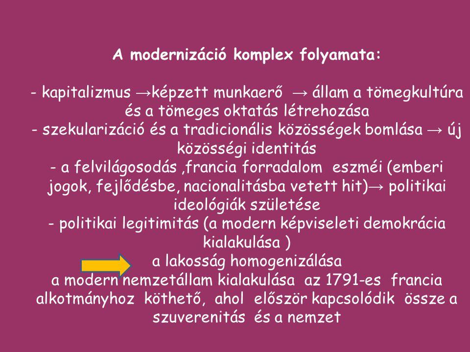 A modernizáció komplex folyamata: - kapitalizmus →képzett munkaerő → állam a tömegkultúra és a tömeges oktatás létrehozása - szekularizáció és a tradicionális közösségek bomlása → új közösségi identitás - a felvilágosodás ,francia forradalom eszméi (emberi jogok, fejlődésbe, nacionalitásba vetett hit)→ politikai ideológiák születése - politikai legitimitás (a modern képviseleti demokrácia kialakulása ) a lakosság homogenizálása a modern nemzetállam kialakulása az 1791-es francia alkotmányhoz köthető, ahol először kapcsolódik össze a szuverenitás és a nemzet