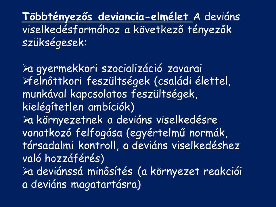 Többtényezős deviancia-elmélet A deviáns viselkedésformához a következő tényezők