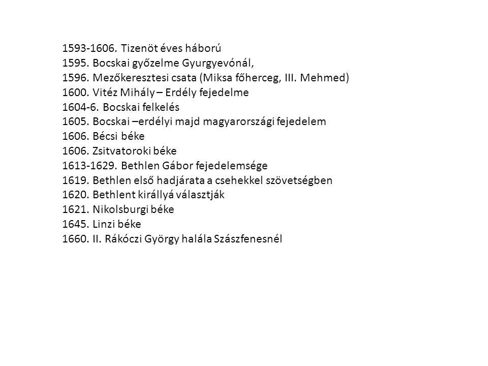 1593-1606. Tizenöt éves háború 1595. Bocskai győzelme Gyurgyevónál, 1596. Mezőkeresztesi csata (Miksa főherceg, III. Mehmed)