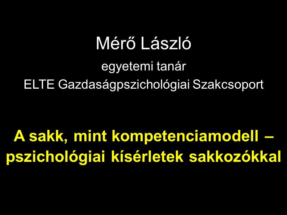 Mérő László egyetemi tanár. ELTE Gazdaságpszichológiai Szakcsoport.