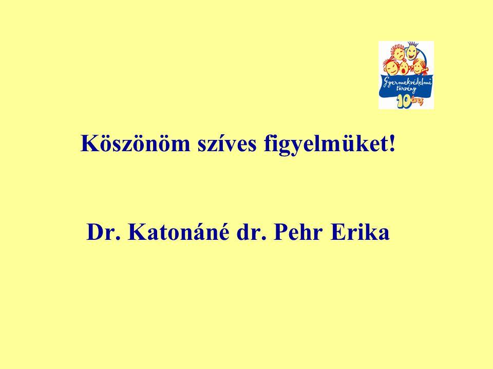 Köszönöm szíves figyelmüket! Dr. Katonáné dr. Pehr Erika