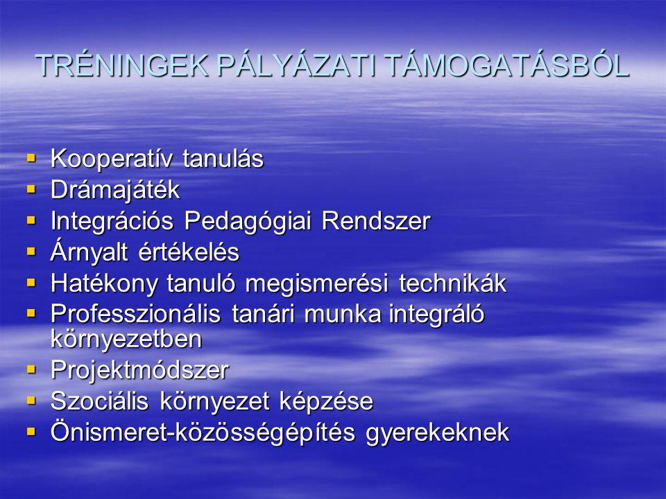 TRÉNINGEK PÁLYÁZATI TÁMOGATÁSBÓL
