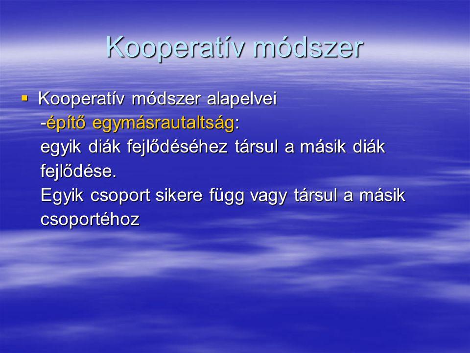 Kooperatív módszer Kooperatív módszer alapelvei