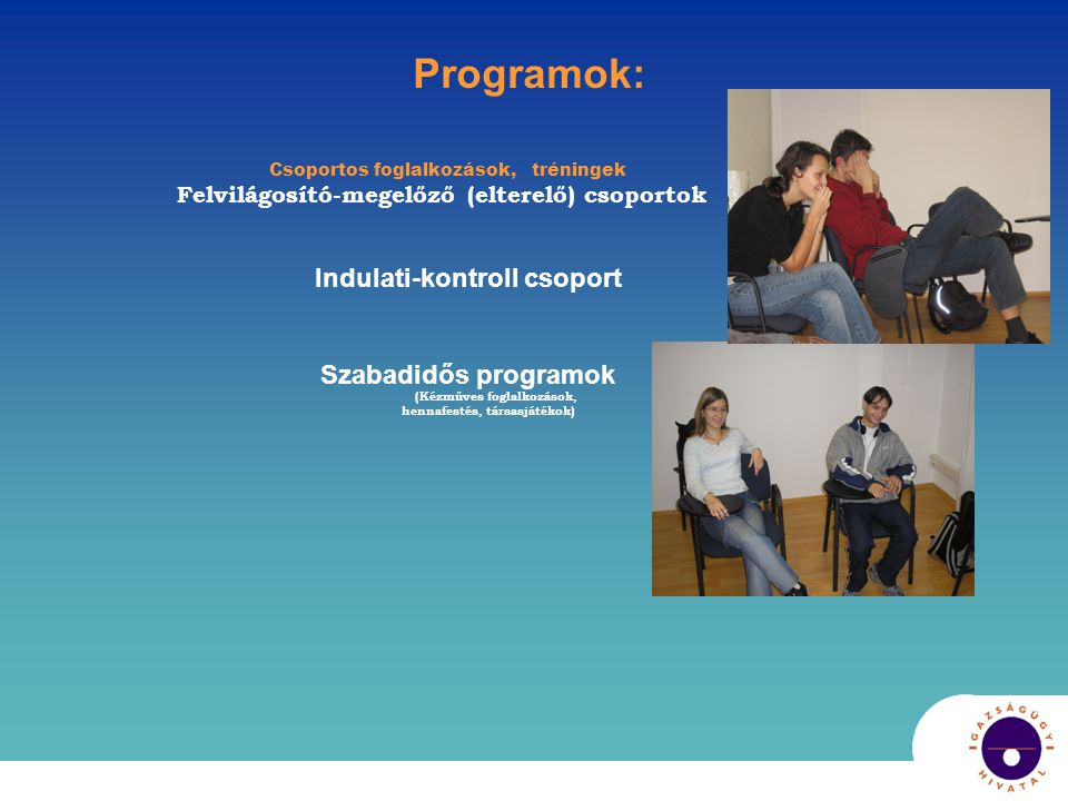 Programok: Indulati-kontroll csoport Szabadidős programok
