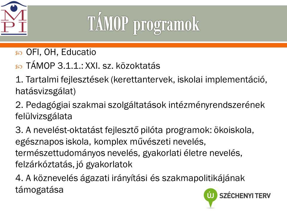 TÁMOP programok OFI, OH, Educatio TÁMOP 3.1.1.: XXI. sz. közoktatás