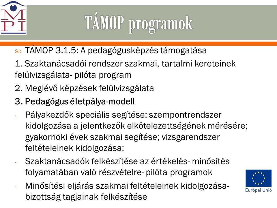 TÁMOP programok TÁMOP 3.1.5: A pedagógusképzés támogatása
