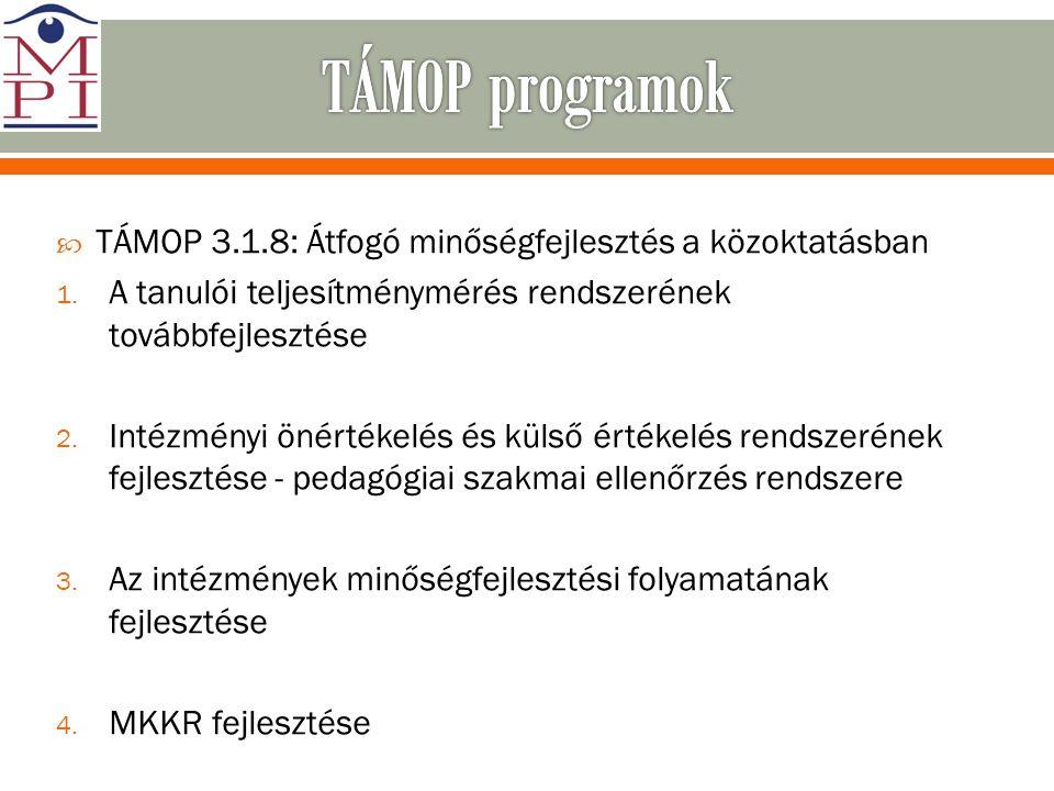 TÁMOP programok TÁMOP 3.1.8: Átfogó minőségfejlesztés a közoktatásban