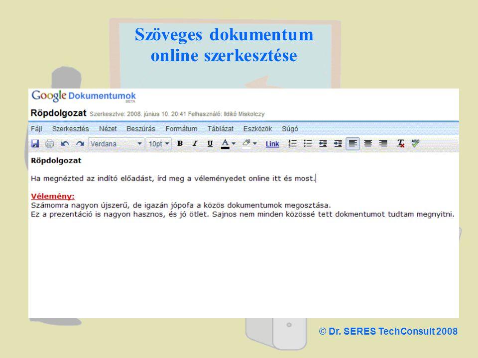 Szöveges dokumentum online szerkesztése