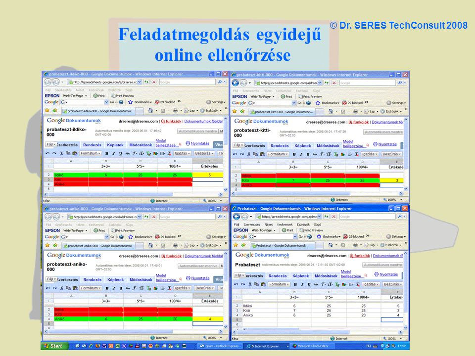 Feladatmegoldás egyidejű online ellenőrzése