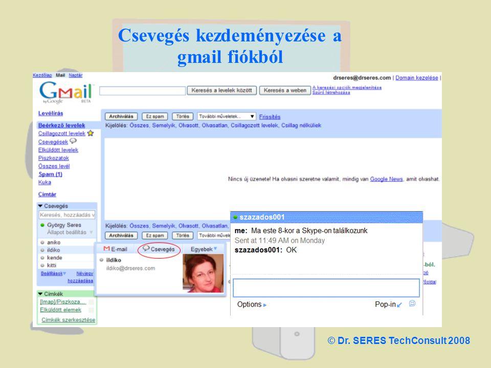 Csevegés kezdeményezése a gmail fiókból