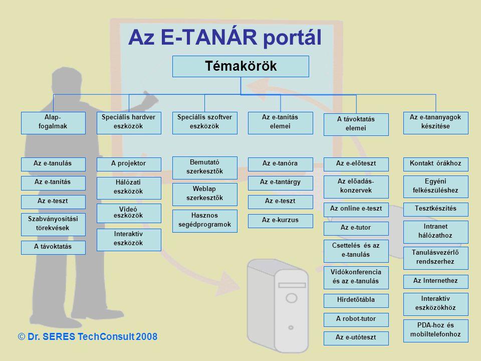 Az E-TANÁR portál Témakörök © Dr. SERES TechConsult 2008 Alap-