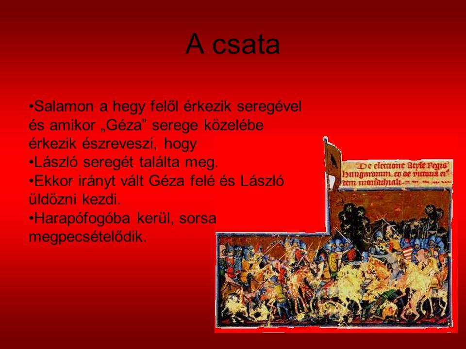 """A csata Salamon a hegy felől érkezik seregével és amikor """"Géza serege közelébe érkezik észreveszi, hogy."""