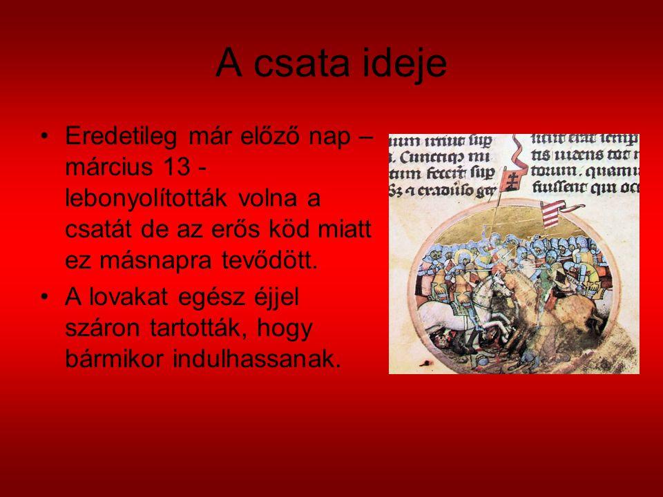 A csata ideje Eredetileg már előző nap – március 13 - lebonyolították volna a csatát de az erős köd miatt ez másnapra tevődött.