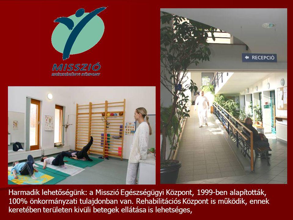 Harmadik lehetőségünk: a Misszió Egészségügyi Központ, 1999-ben alapították, 100% önkormányzati tulajdonban van.