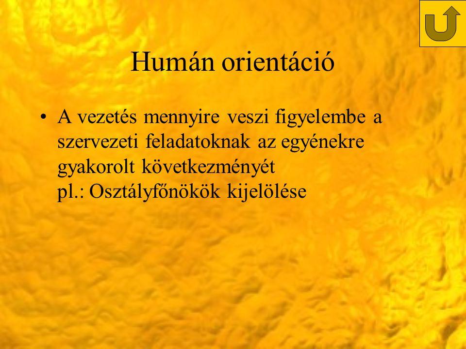 Humán orientáció A vezetés mennyire veszi figyelembe a szervezeti feladatoknak az egyénekre gyakorolt következményét pl.: Osztályfőnökök kijelölése.