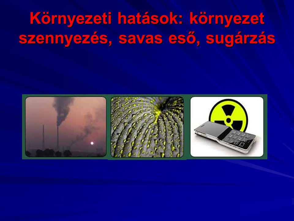Környezeti hatások: környezet szennyezés, savas eső, sugárzás