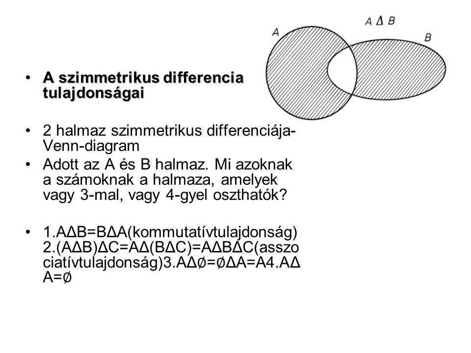 A szimmetrikus differencia tulajdonságai