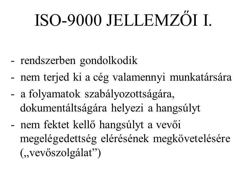ISO-9000 JELLEMZŐI I. - rendszerben gondolkodik