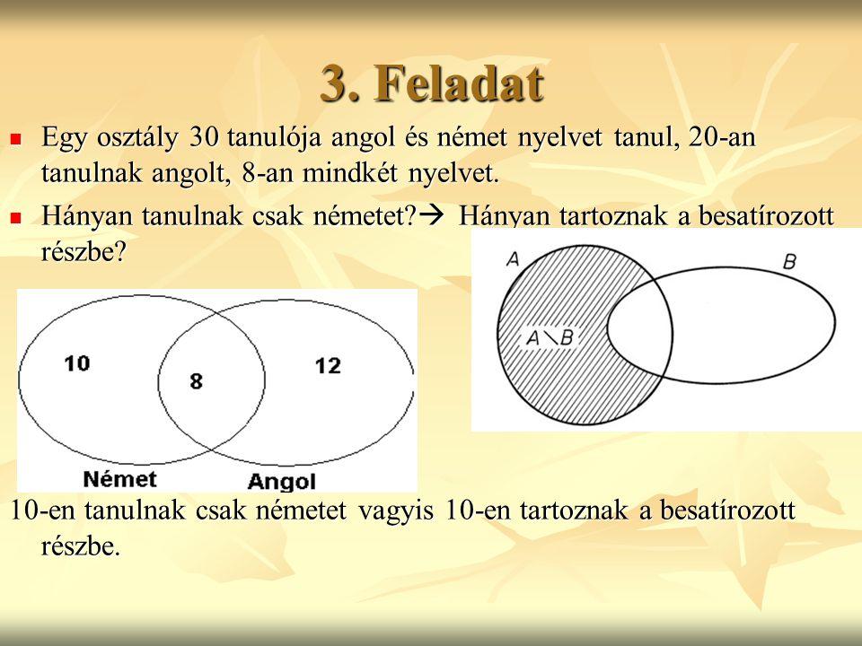 3. Feladat Egy osztály 30 tanulója angol és német nyelvet tanul, 20-an tanulnak angolt, 8-an mindkét nyelvet.