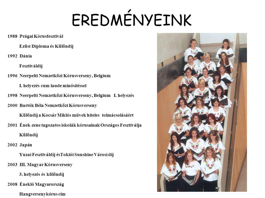 EREDMÉNYEINK 1988 Prágai Kórusfesztivál Ezüst Diploma és Különdíj