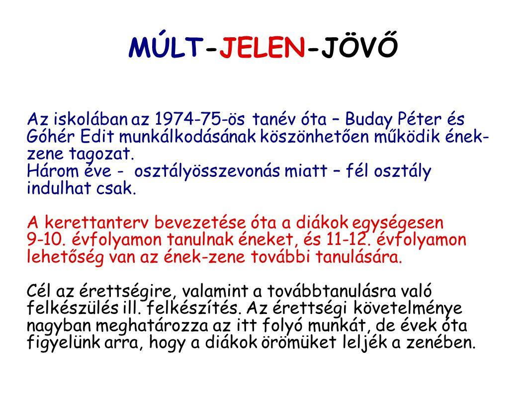 MÚLT-JELEN-JÖVŐ Az iskolában az 1974-75-ös tanév óta – Buday Péter és Góhér Edit munkálkodásának köszönhetően működik ének-zene tagozat.