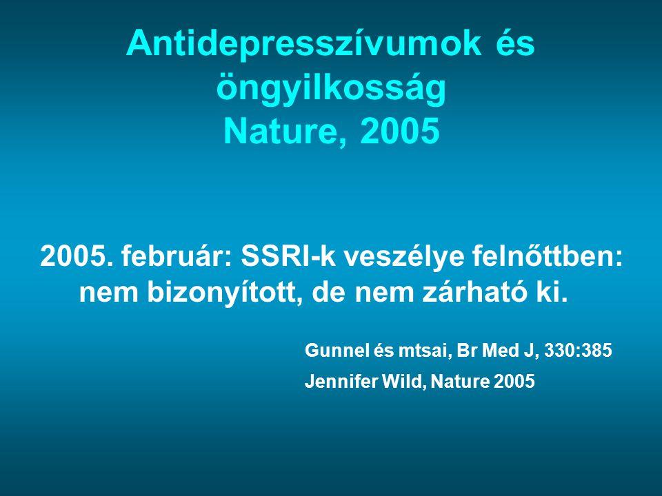 Antidepresszívumok és öngyilkosság Nature, 2005