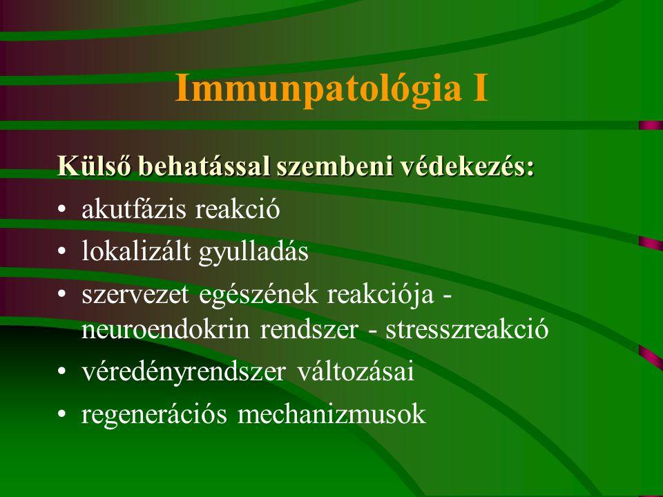 Immunpatológia I Külső behatással szembeni védekezés: