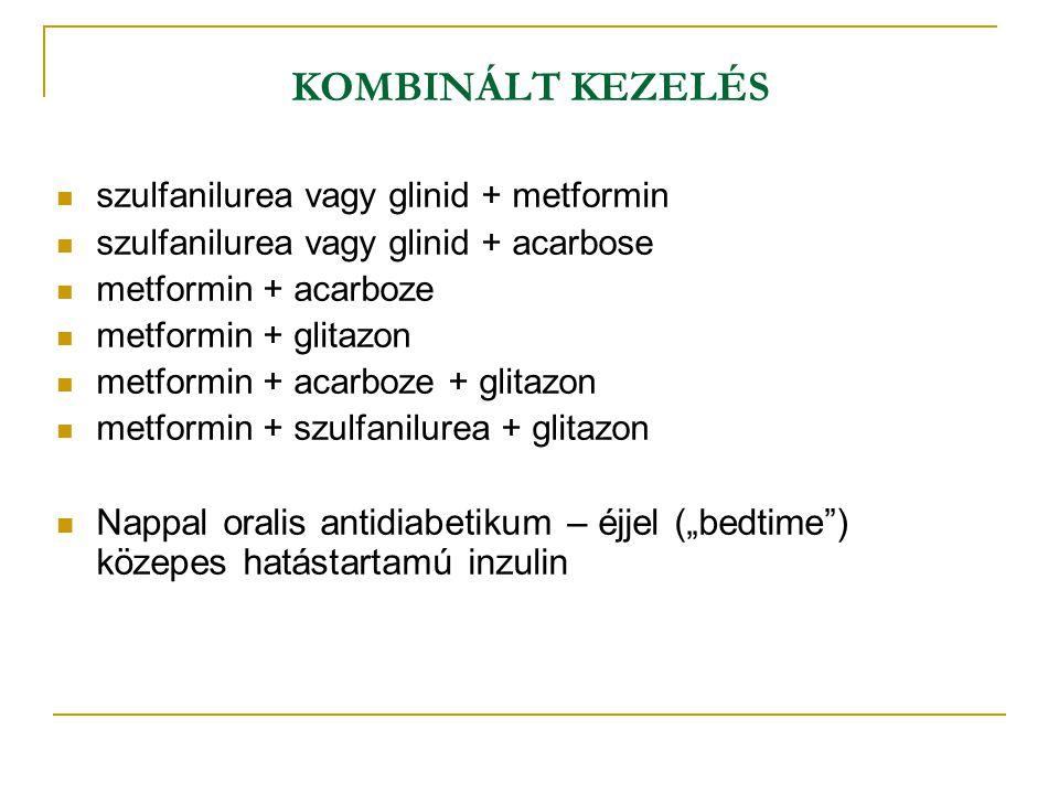 KOMBINÁLT KEZELÉS szulfanilurea vagy glinid + metformin. szulfanilurea vagy glinid + acarbose. metformin + acarboze.