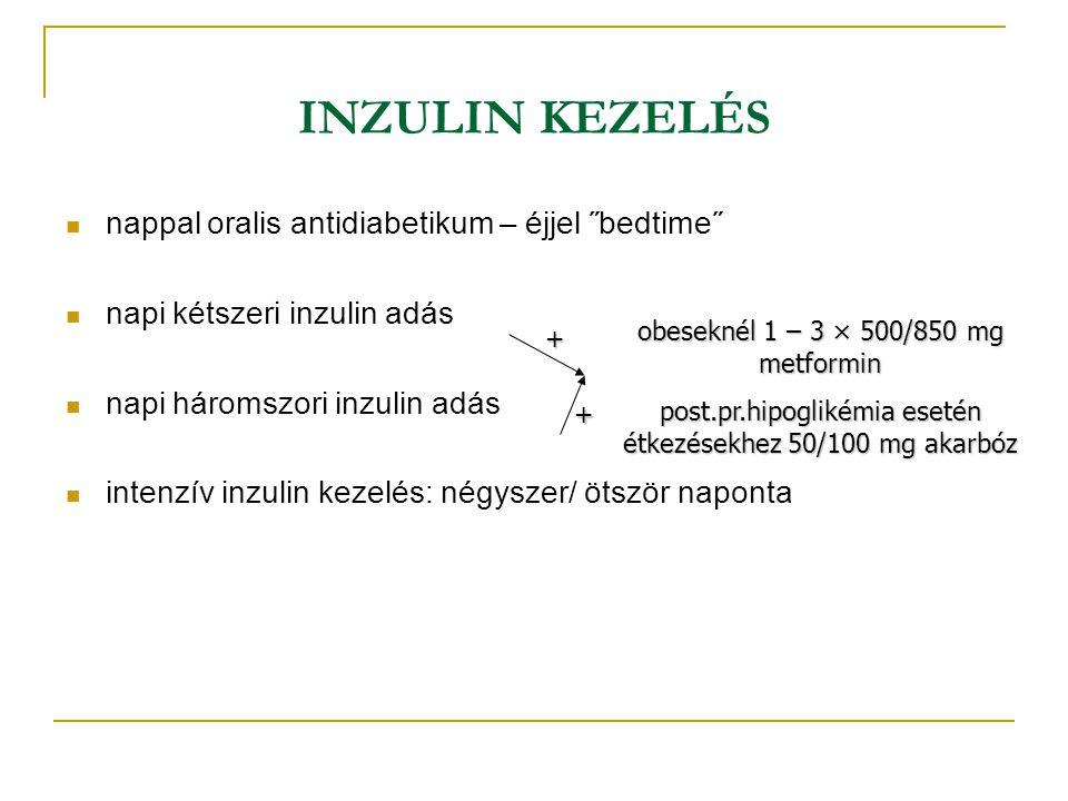 INZULIN KEZELÉS nappal oralis antidiabetikum – éjjel ˝bedtime˝