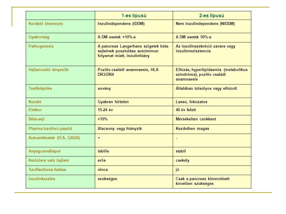 1-es típusú 2-es típusú Korábbi elnevezés Inzulindependens (IDDM)